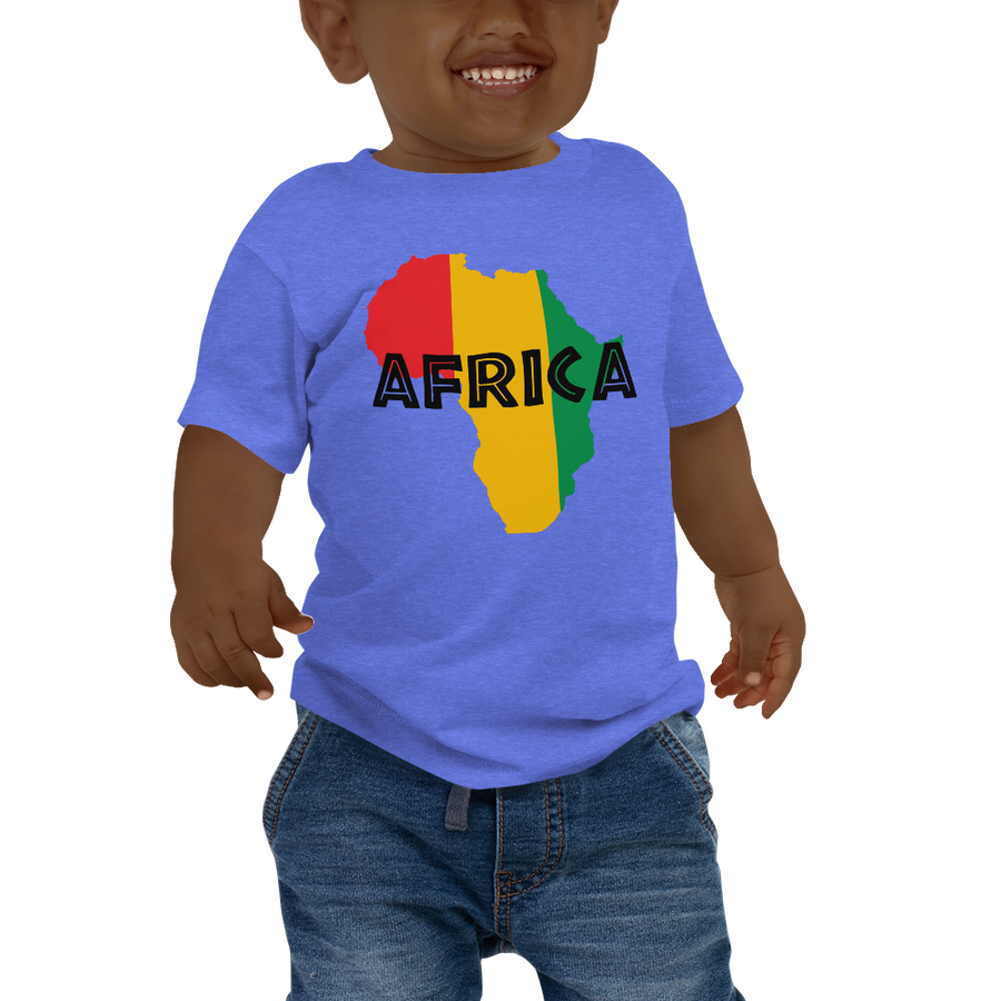This blue short-sleeved baby T-shirt from Natty Wear is made of 100% cotton. The front print portrays a map of Africa in the Rastafarian colors