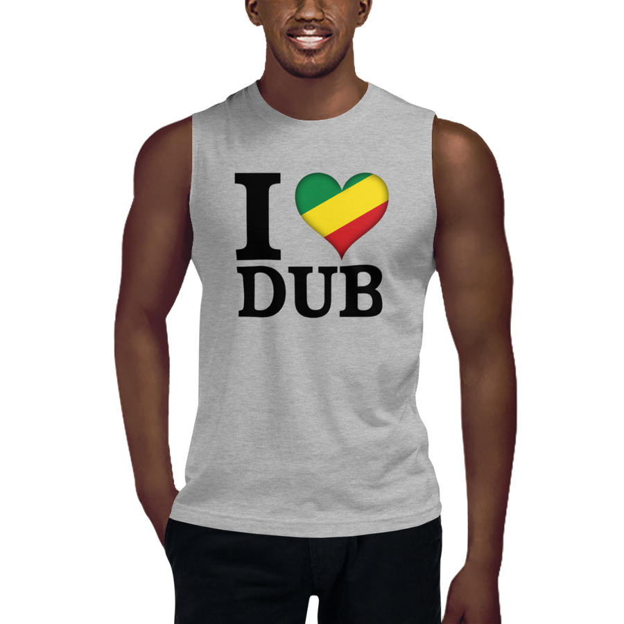 I ❤ DUB (RASTA/BLACK) — Men's Muscle Shirt
