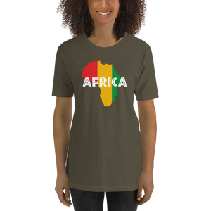 This army green premium quality T-shirt from Natty Wear is made of 100% high-quality combed ringspun cotton. The front print portrays a map of Africa in the Rastafarian colors (red, gold/yellow, green), which are also known as the Pan-African colors, with white color used for the text of the word 'Africa' which overlays the image