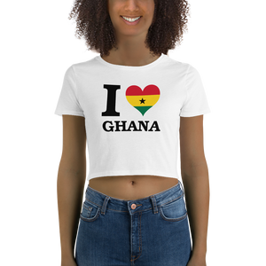 I ❤ GHANA (BLACK) — Women's Crop Tee