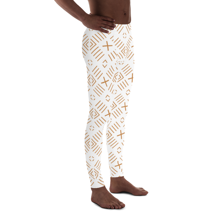 BÒGÒLANFINI 'FILA' (WHITE/SAND) — Hand-sewn Men's Leggings