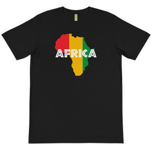 This black T-shirt from Natty Wear is made of 100% organic cotton that's been grown and harvested without any synthetic fertilizers or pesticides. The front print portrays a map of Africa in the Rastafarian colors (red, gold/yellow, green), which are also known as the Pan-African colors, with white color used for the text of the word 'Africa' which overlays the image