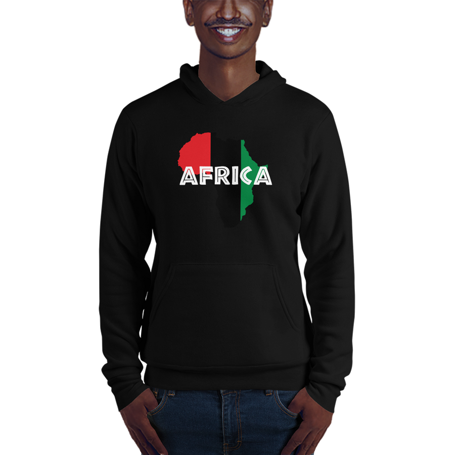 This black hoodie from Natty Wear is made of 52% ringspun cotton and 48% polyester fleece. The front print portrays a map of Africa in the UNIA colors (red, black, green), which are also known as the Pan-African colors, with white color used for the text of the word 'Africa' which overlays the image