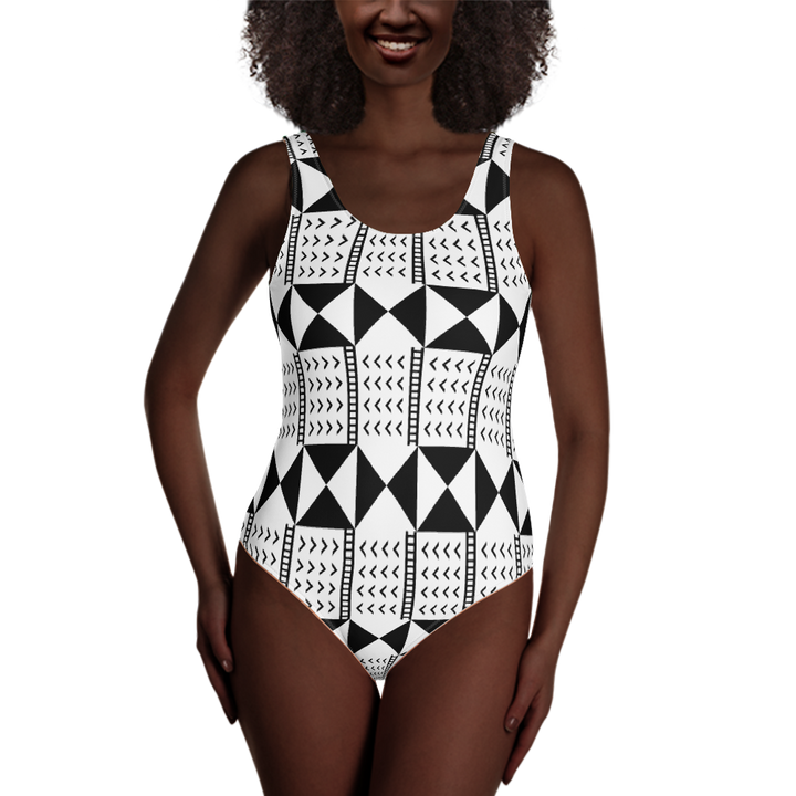BÒGÒLANFINI 'WÓLONWULA' (WHITE/BLACK) — Hand-sewn One-Piece Swimsuit