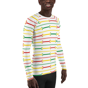 DOGON (WHITE/RASTA) — Hand-sewn Men's Rash Guard