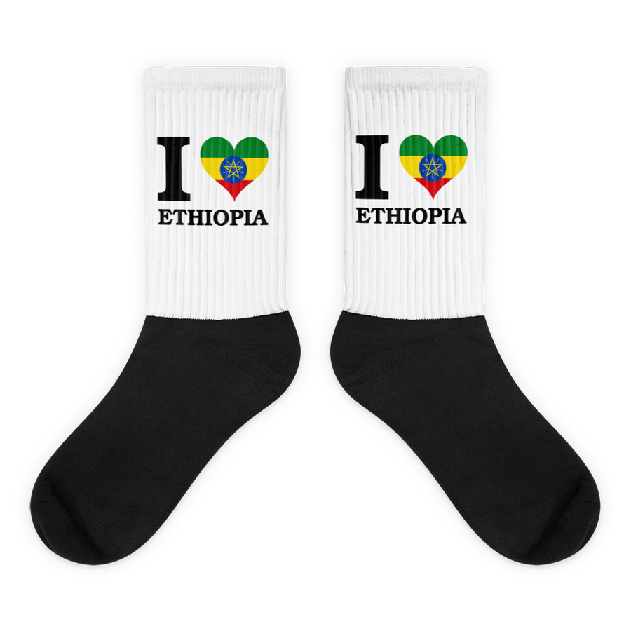 I ❤ ETHIOPIA (BLACK) — Cushioned Socks