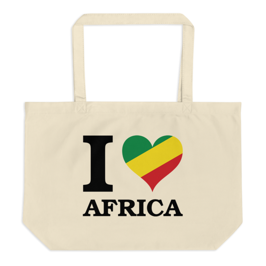 This white organic tote bag from Natty Wear is made of 100% certified organic cotton. The front print portrays the capital letter 'I' in black color, followed by a heart symbol (❤) in the Rastafarian colors (red, gold/yellow, green), which are also known as the Pan-African colors, below is the word 'AFRICA' set in capital letters in black color