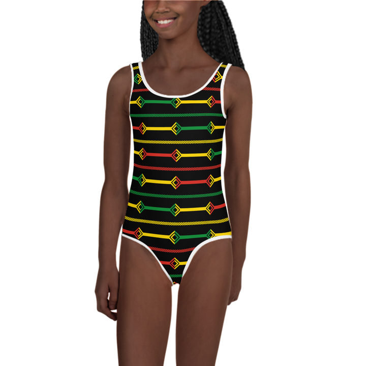 DOGON (BLACK/RASTA) — Hand-sewn Kids' Swimsuit