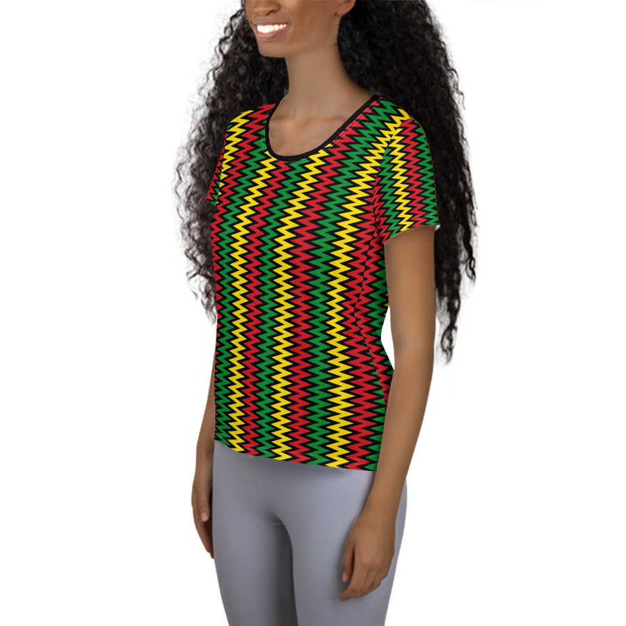 ASANTE KENTE 'ZIG-ZAG' (BLACK/RASTA) — Hand-sewn Women's Athletic T-shirt