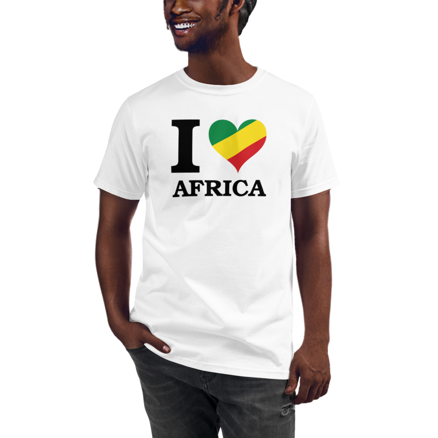 This white T-shirt from Natty Wear is made of 100% organic cotton that's been grown and harvested without any synthetic fertilizers or pesticides. The front print portrays the capital letter 'I' in black color, followed by a heart symbol (❤) in the Rastafarian colors (red, gold/yellow, green), which are also known as the Pan-African colors, below is the word 'AFRICA' set in capital letters in black color