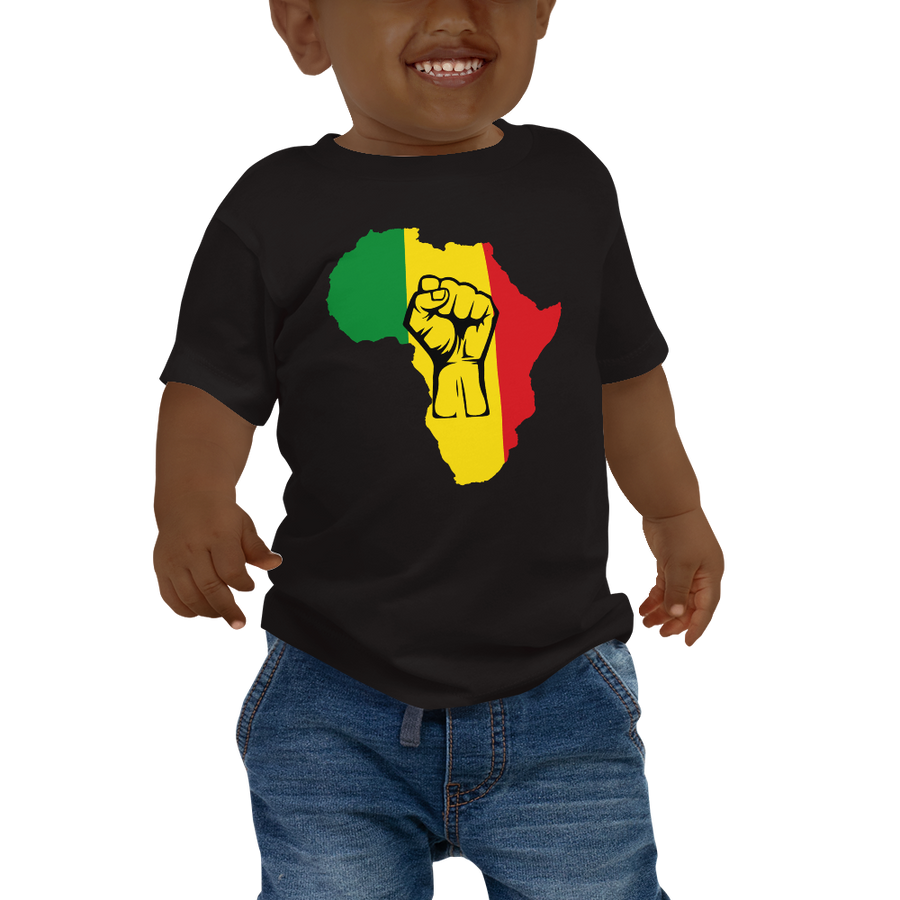This black short-sleeved baby T-shirt from Natty Wear is made of 100% cotton*. The front print portrays a map of Africa in the Rastafarian colors (red, gold/yellow, green), which are also known as the Pan-African colors, with black color used for the outlines of a raised fist which overlays the image