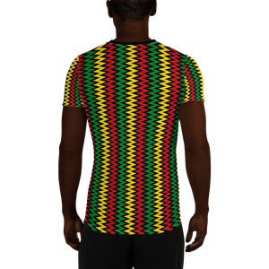 ASANTE KENTE 'ZIG-ZAG' (BLACK/RASTA) — Hand-sewn Men's Athletic T-shirt