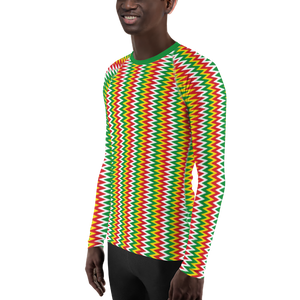 ASANTE KENTE 'ZIG-ZAG' (RASTA/WHITE) — Hand-sewn Men's Rash Guard