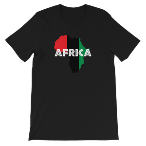 This black premium quality unisex T-shirt from Natty Wear is made of 100% high-quality combed ringspun cotton. The front print portrays a map of Africa in the UNIA colors (red, black, green), which are also known as the Pan-African colors, with white color used for the text of the word 'Africa' which overlays the image