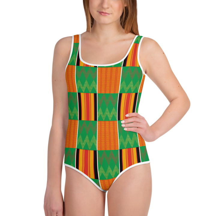 Asante Kente Print 'Dummienu' — Hand-sewn Youth Swimsuit