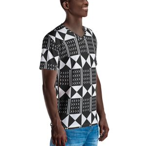 BÒGÒLANFINI 'WÓLONWULA' (BLACK/WHITE) — Hand-sewn Men's V-Neck T-shirt