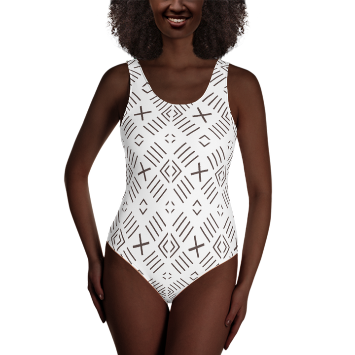 BÒGÒLANFINI 'FILA' (WHITE/COCOA) — Hand-sewn One-Piece Swimsuit