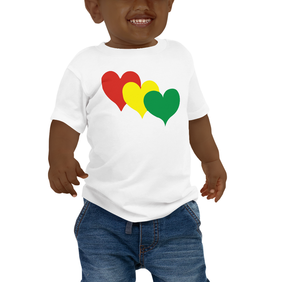 THREE HEARTS (RASTA) — Short-sleeved Baby T-shirt