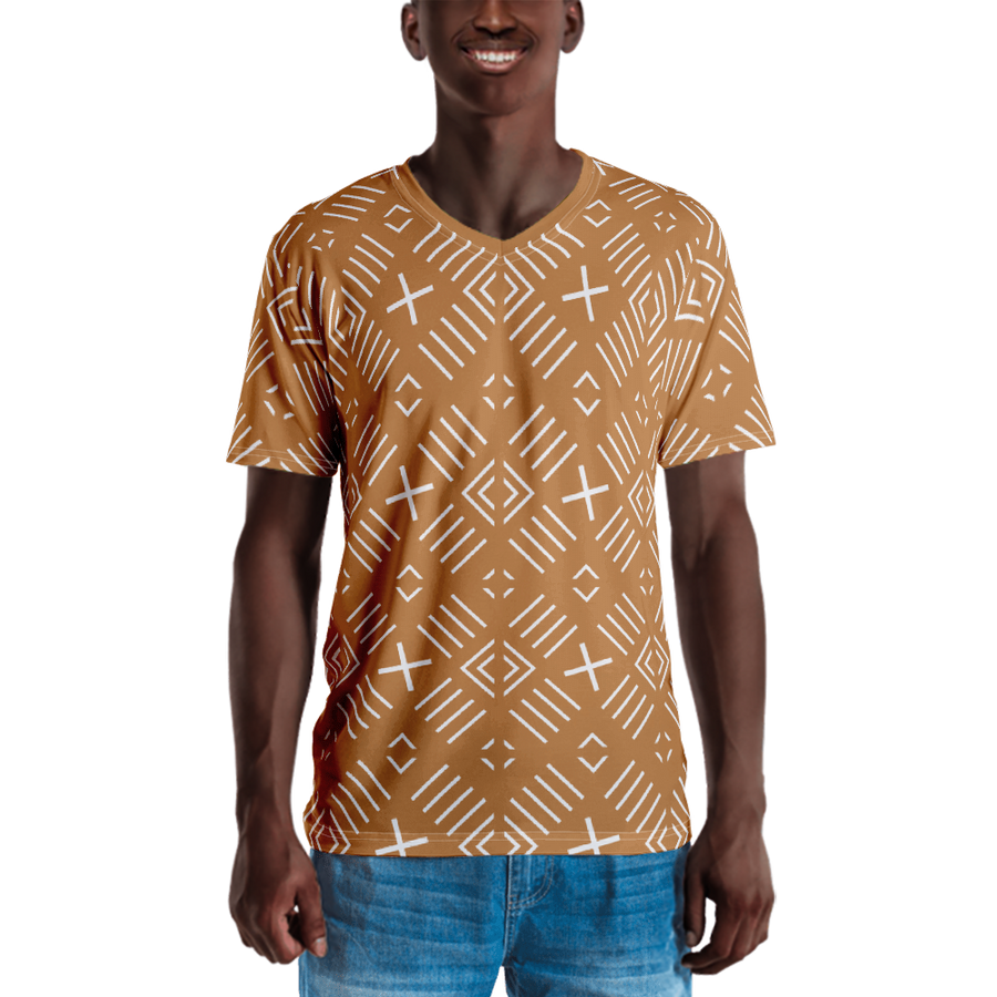 BÒGÒLANFINI 'FILA' (SAND/WHITE) — Hand-sewn Men's V-Neck T-shirt