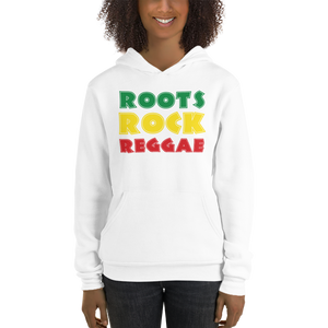This white hoodie from Natty Wear is made of 52% ringspun cotton and 48% polyester fleece*. The front print portrays the text 'ROOTS ROCK REGGAE' written in a stylish font in the Rastafarian colors (red, gold/yellow, green), which are also known as the Pan-African colors