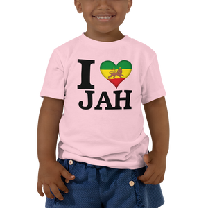 I ❤ JAH (RASTA/BLACK) — Short-sleeved Toddler T-shirt
