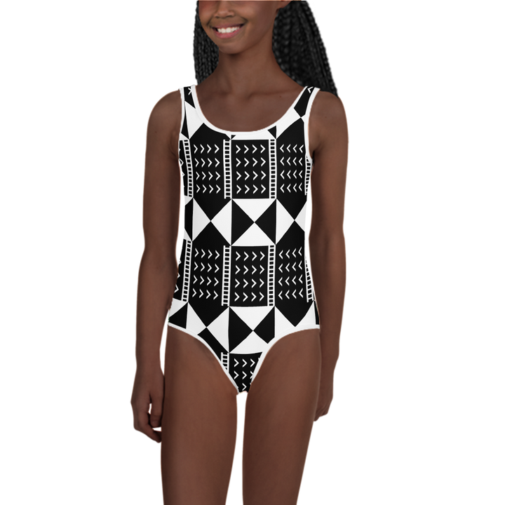 BÒGÒLANFINI 'WÓLONWULA' (BLACK/WHITE) — Hand-sewn Kids' Swimsuit