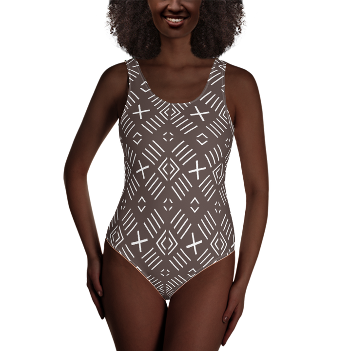 BÒGÒLANFINI 'FILA' (COCOA/WHITE) — Hand-sewn One-Piece Swimsuit
