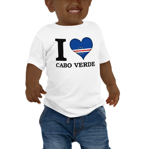 I ❤ CABO VERDE (BLACK) — Short-sleeved Baby T-shirt