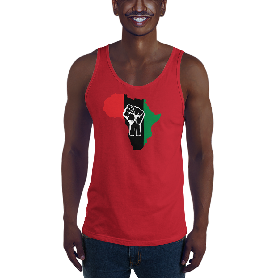 RAISED FIST 'AFRICA' (UNIA/WHITE) — Men's Premium Tank Top