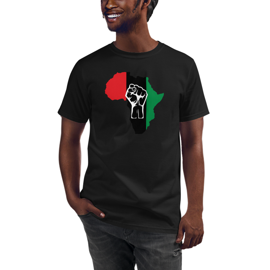 RAISED FIST 'AFRICA' (UNIA/WHITE) — Men's Organic T-shirt