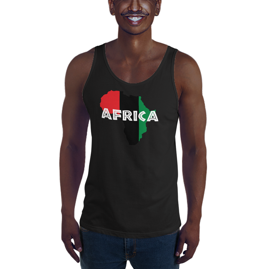 This black premium quality Tank Top from Natty Wear is made of 100% ringspun cotton. The front print portrays a map of Africa in the UNIA colors (red, black, green), which are also known as the Pan-African colors, with white color used for the text of the word 'Africa' which overlays the image