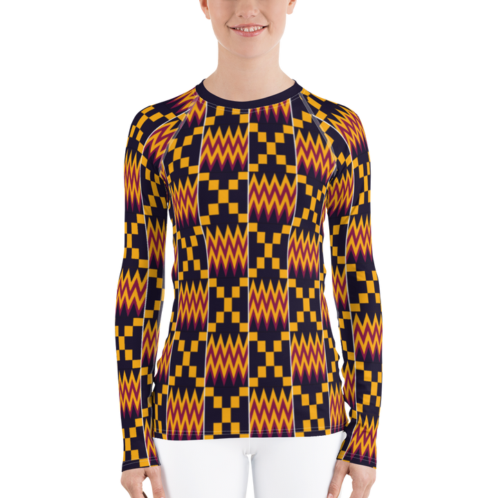 Asante Kente Print 'Aduonu nan' — Women's Rash Guard