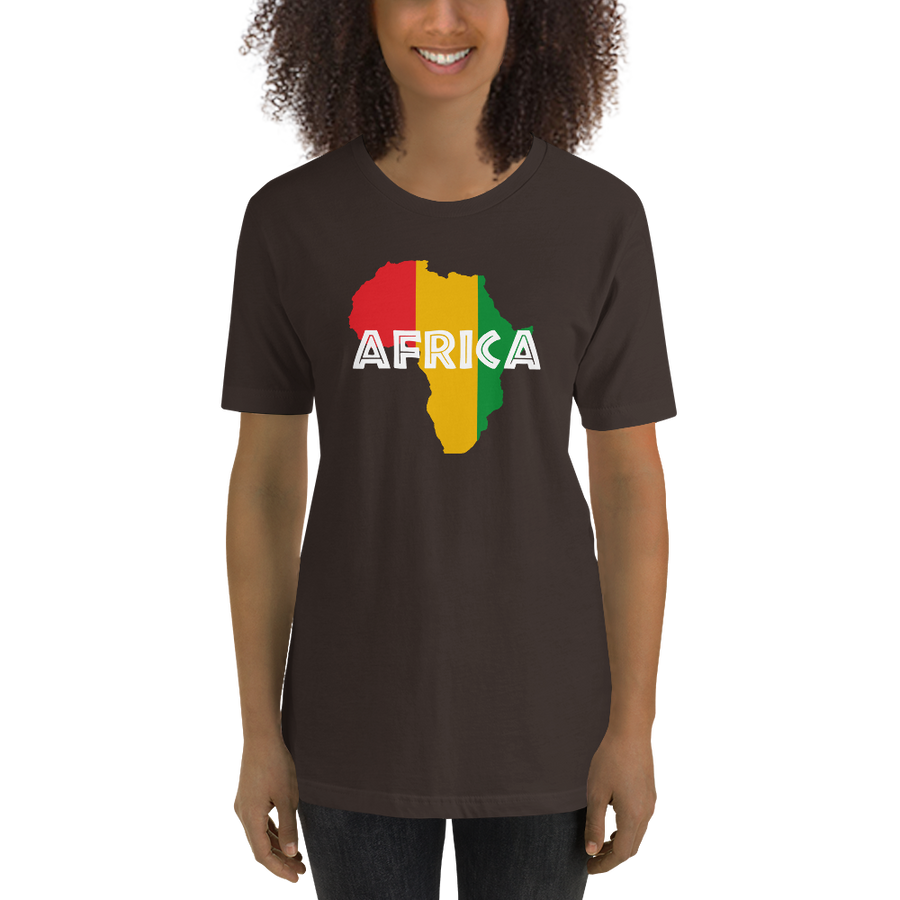 This brown premium quality T-shirt from Natty Wear is made of 100% high-quality combed ringspun cotton. The front print portrays a map of Africa in the Rastafarian colors (red, gold/yellow, green), which are also known as the Pan-African colors, with white color used for the text of the word 'Africa' which overlays the image
