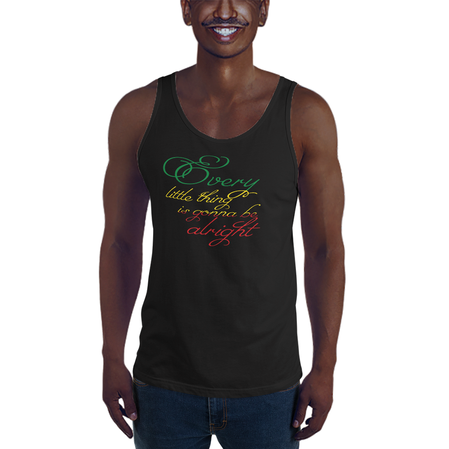 This premium quality Tank Top from Natty Wear is made of 100% ringspun cotton. The front print portrays the text ' Every little thing is gonna be alright' written in a stylish font in the Rastafarian colors (red, gold/yellow, green), which are also known as the Pan-African colors