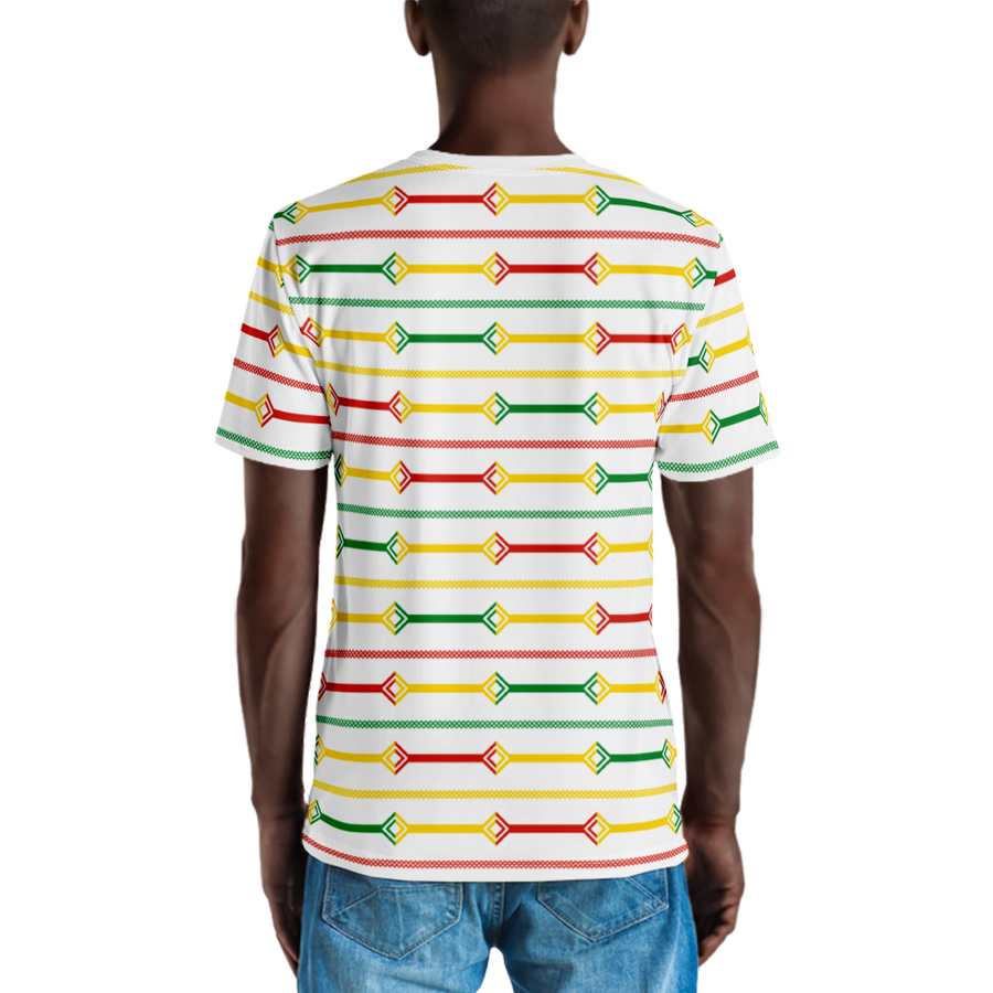 DOGON (WHITE/RASTA) — Hand-sewn Men's Crew Neck T-shirt