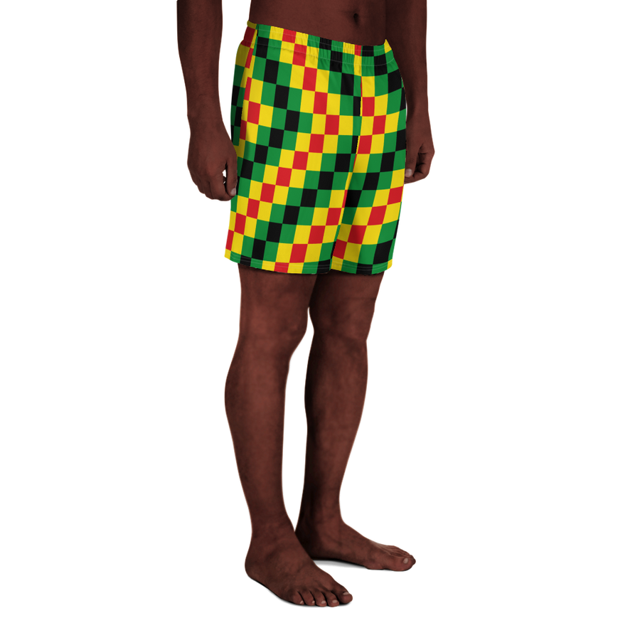 EWE KENTE 'EWO' (RASTA/BLACK) — Hand-sewn Men's Athletic Long Shorts