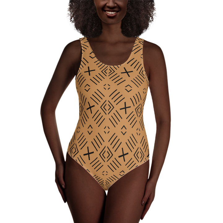 BÒGÒLANFINI 'FILA' (SAND/BLACK) — Hand-sewn One-Piece Swimsuit