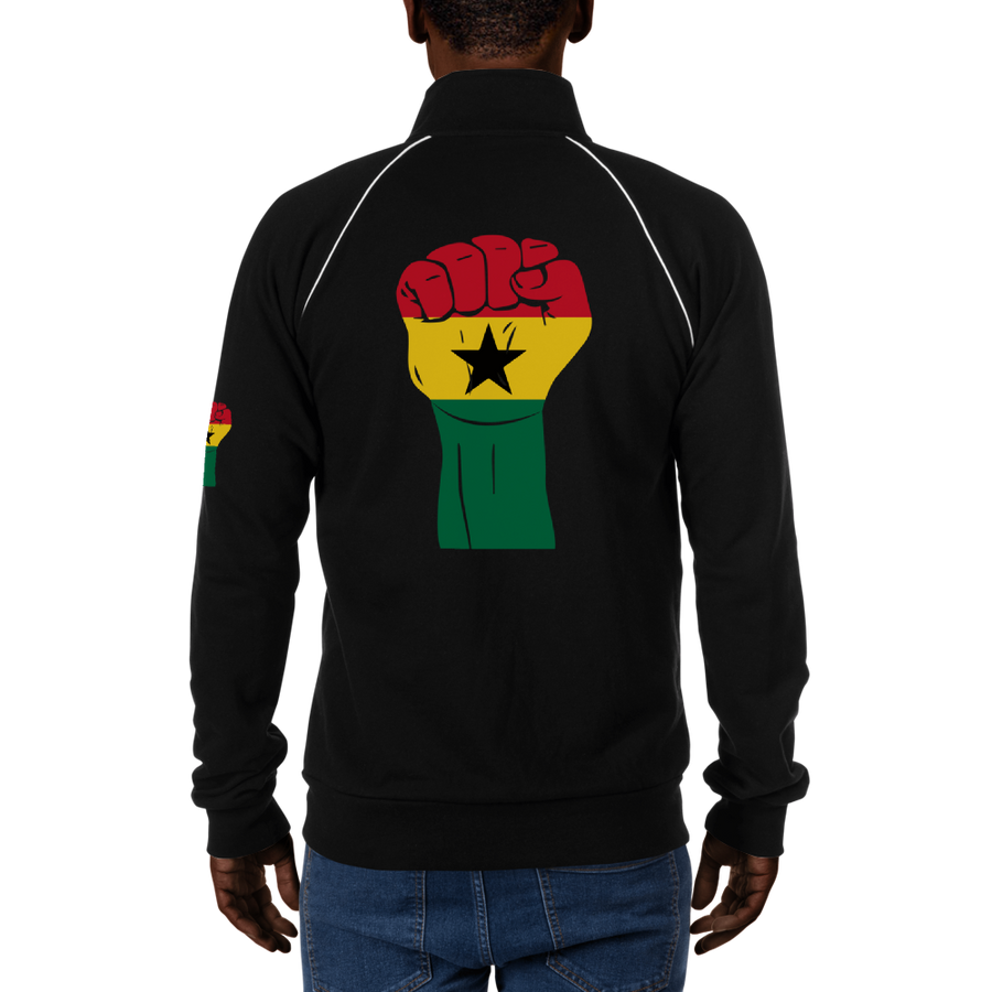 RAISED FIST 'GHANA' — Men's Piped Fleece Jacket