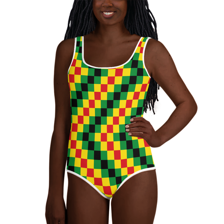 EWE KENTE 'EWO' (RASTA/BLACK) — Hand-sewn Youth Swimsuit