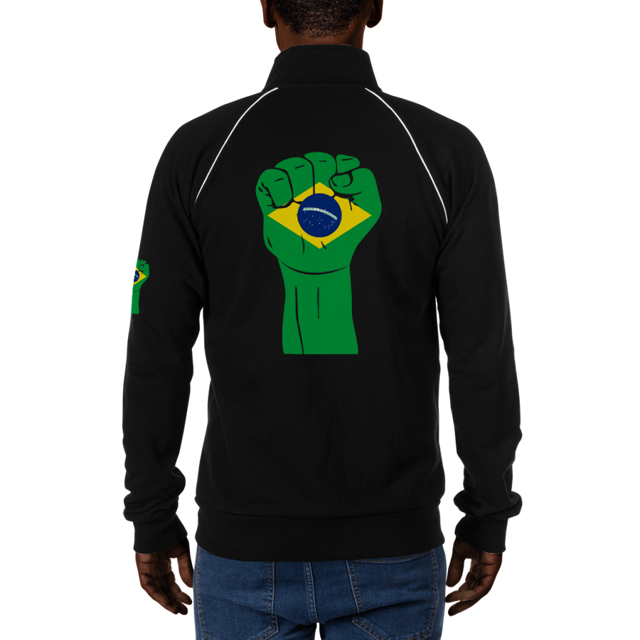 RAISED FIST 'BRAZIL' — Men's Piped Fleece Jacket
