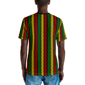 ASANTE KENTE 'ZIG-ZAG' (BLACK/RASTA) — Hand-sewn Men's Crew Neck T-shirt