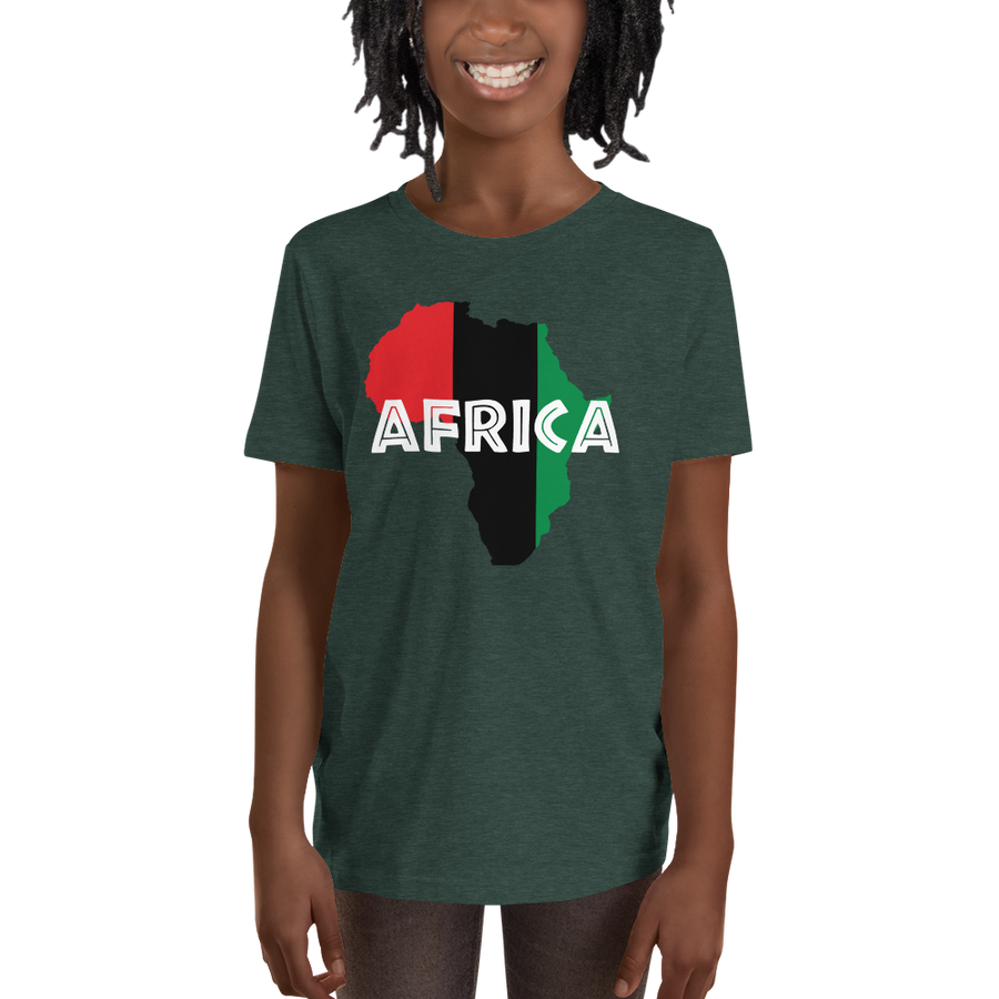 This black short-sleeved youth Tee from Natty Wear is made of 52% soft jersey cotton and 48% polyester. The front print portrays a map of Africa in the UNIA colors (red, black, green), which are also known as the Pan-African colors, with white color used for the text of the word 'Africa' which overlays the image