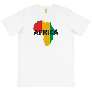 This T-shirt from Natty Wear is made of 100% organic cotton that's been grown and harvested without any synthetic fertilizers or pesticides. The front print portrays a map of Africa in the Rastafarian colors