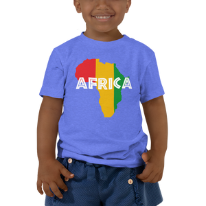 This blue short-sleeved toddler Tee from Natty Wear is made of 100% cotton. The front print portrays a map of Africa in the Rastafarian colors (red, gold/yellow, green), which are also known as the Pan-African colors, with white color used for the text of the word 'Africa' which overlays the image