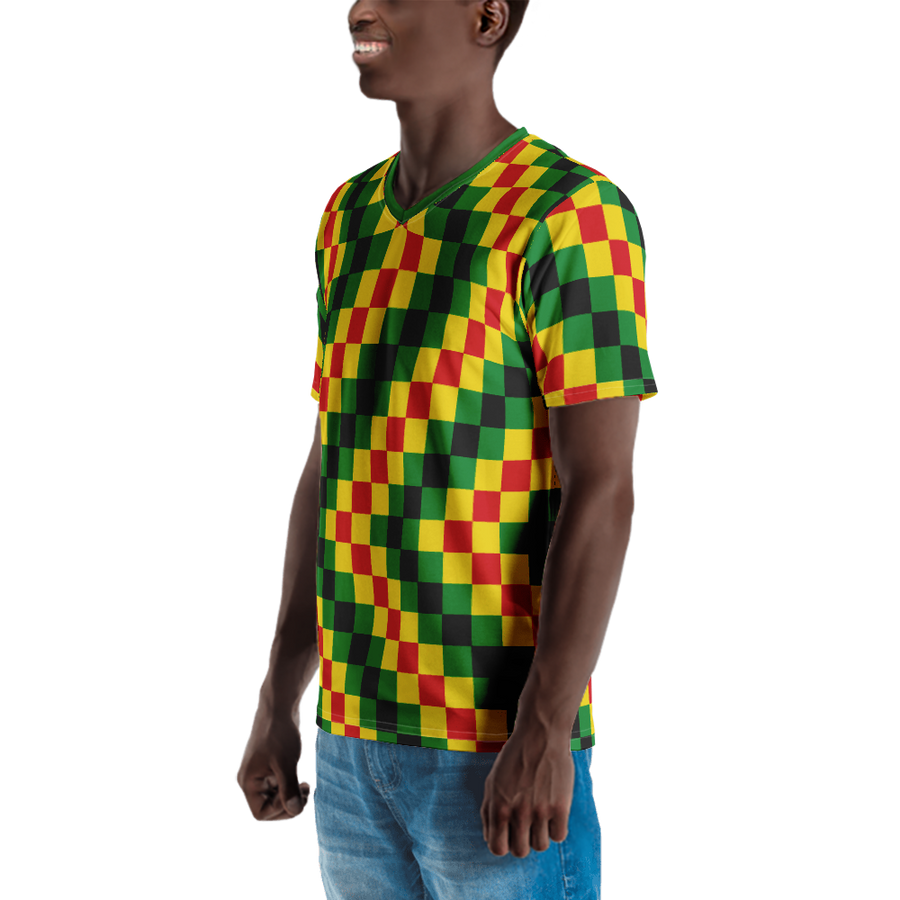 EWE KENTE 'EWO' (RASTA/BLACK) — Hand-sewn Men's V-Neck T-shirt