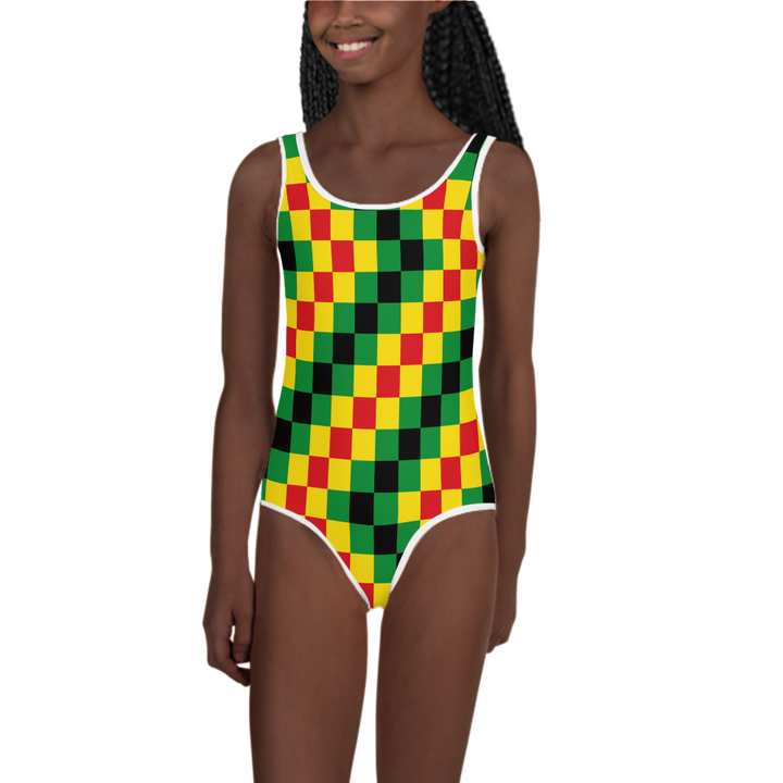 EWE KENTE 'EWO' (RASTA/BLACK) — Hand-sewn Kids' Swimsuit
