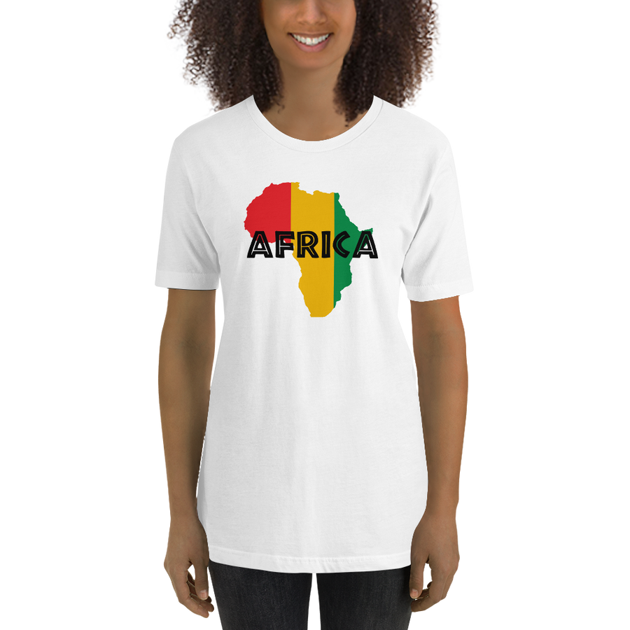 This white premium quality T-shirt from Natty Wear is made of 100% high-quality combed ringspun cotton. The front print portrays a map of Africa in the Rastafarian colors