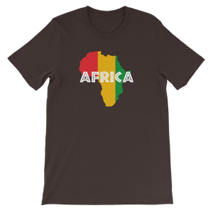 This brown premium quality unisex T-shirt from Natty Wear is made of 100% high-quality combed ringspun cotton. The front print portrays a map of Africa in the Rastafarian colors (red, gold/yellow, green), which are also known as the Pan-African colors, with white color used for the text of the word 'Africa' which overlays the image