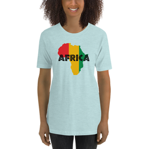 This ice blue premium quality T-shirt from Natty Wear is made of 52% high-quality combed ringspun cotton and 48% polyester. The front print portrays a map of Africa in the Rastafarian colors