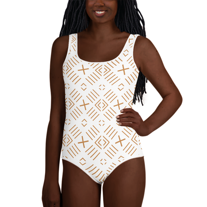 BÒGÒLANFINI 'FILA' (WHITE/SAND) — Hand-sewn Youth Swimsuit
